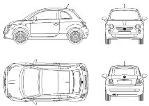 Cad Block of New Fiat 500 in dwg