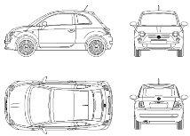 Cad Block of New Fiat 500 in dwg
