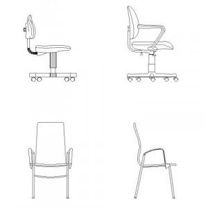 Cad Block of Office chairs in dwg