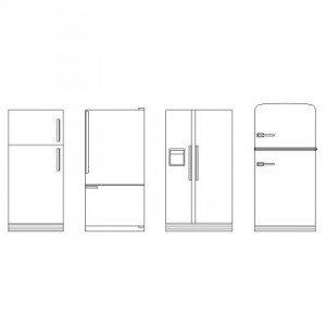 Cad Block of Refrigerators elevation in dwg