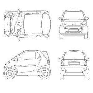 Cad Block of Smart car in dwg