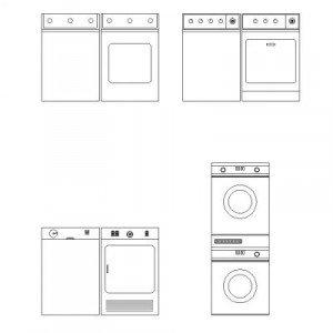 Cad Block of Washing machine – elevation in dwg
