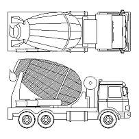 Cad Block of Concrete mixer in dwg