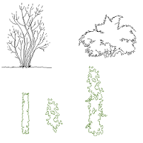 Cad Block of Bushes in dwg