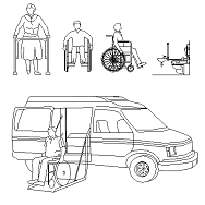 Cad Block of Disabled, wheelchair, ambulance in dwg