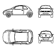 Cad Block of Ford Ka old in dwg