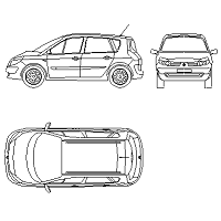 Cad Block of Renault Megane Scenic in dwg