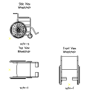 Cad Block of Wheelchair in dwg