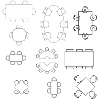 Cad Block of Tables, different shapes in dwg