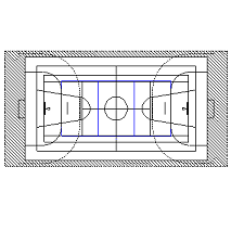 Cad Block of Basket Court, volley, sports hall in dwg