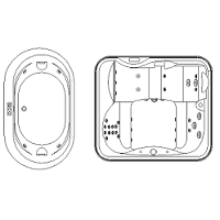 Cad Block of Jacuzzi, whirlpool bath in dwg