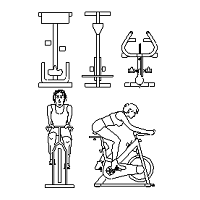 Cad Block of Spin Bikes, spinning bike in dwg