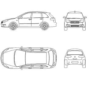 Cad Block of Fiat Croma Wagon in dwg