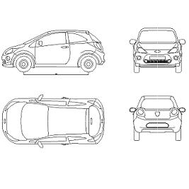 Cad Block of Ford Ka New in dwg