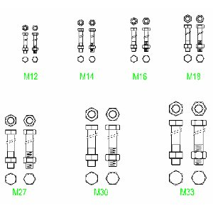 Cad Block of Bolts, screws in dwg