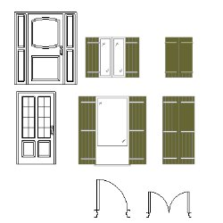 Cad Block of Doors and windows, plan, elevation in dwg