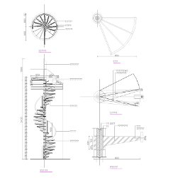 Cad Block of Spiral staircase in dwg