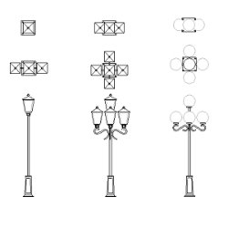 Cad Block of Lantern, street light in dwg